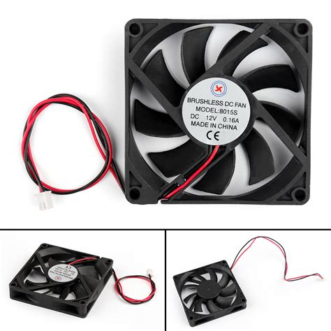1x dc brushless cooling pc computer fan 12v 8015s 80x80x15mm 0 16a 2 wire bk ebay