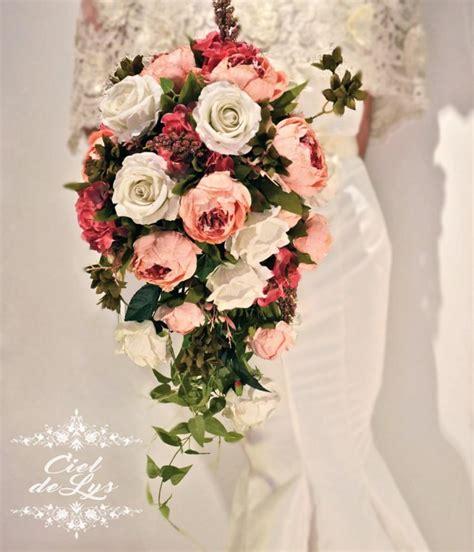 jacquie cascading wedding bouquet  ciel de lys peonies