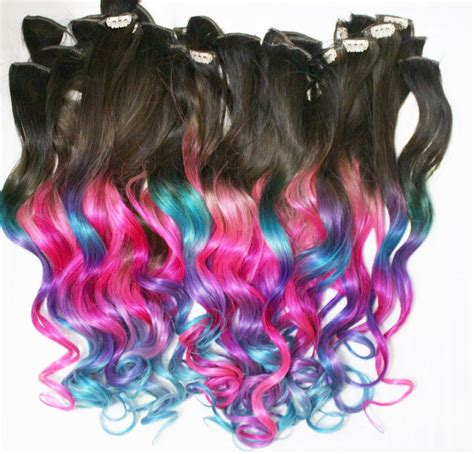 Ombre Dip Dyed Hair Clip In Hair Extensions Tie Dye Tips