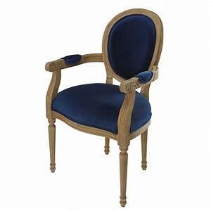 Fauteuil Velours Bleu : fauteuil cabriolet en velours bleu nuit louis maisons du monde ~ Teatrodelosmanantiales.com Idées de Décoration