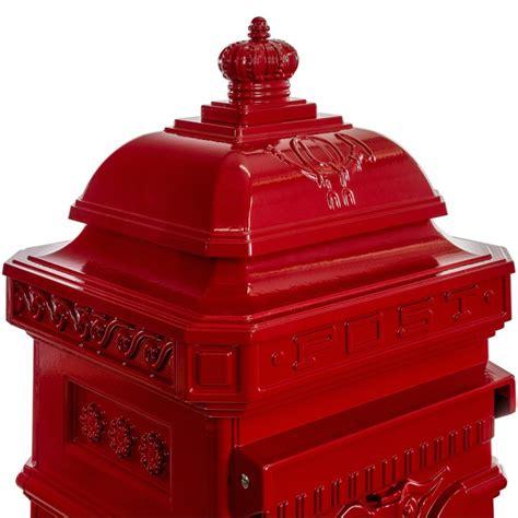 boite aux lettres colonne pilier en fonte rouge  cm