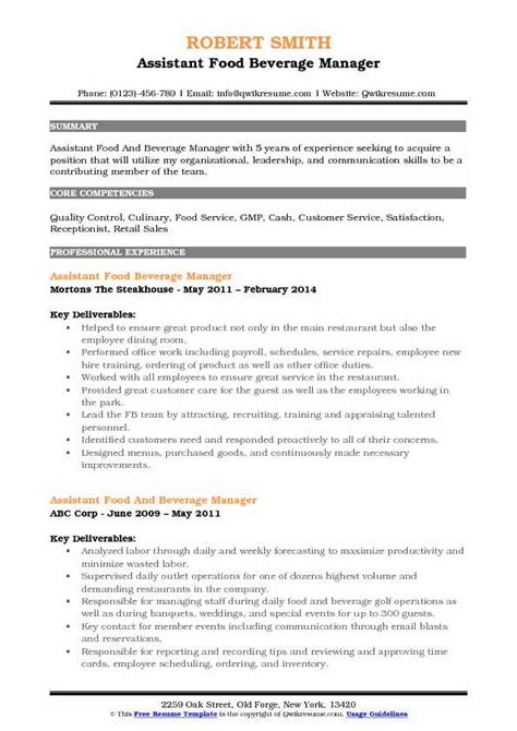 Resume F B Director assistant food and beverage manager resume sles