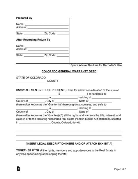 trust deed template for property in colorado free colorado general warranty deed form word pdf