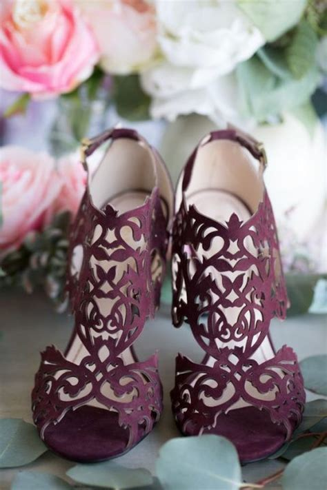 gorgeous plum colored laser cut wedding heels