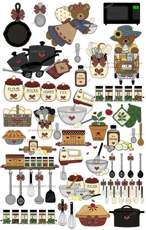Country Kitchen & Cooking Graphics and Clipart Collection
