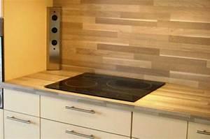 credence en stratifie proteger et decorer le mur de cuisine With plan de travail avec lame de parquet
