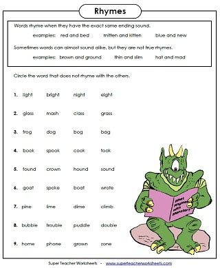 rhyming worksheets grade free worksheets library