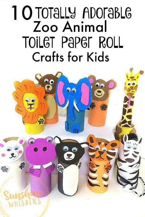 adorable zoo animal toilet paper roll crafts  kids