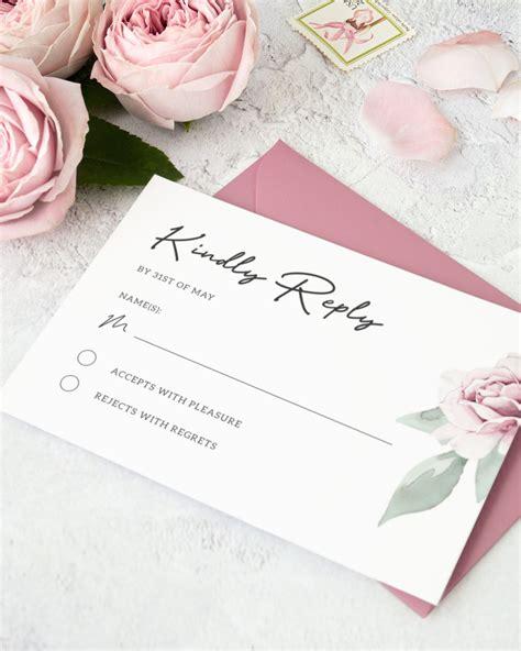 Dusty Rose Wedding RSVP Card Template DIY Floral Wedding