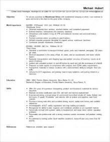 Warehouse Assistant Resume Model by Sle Resume For Warehouse Position Experience Resumes