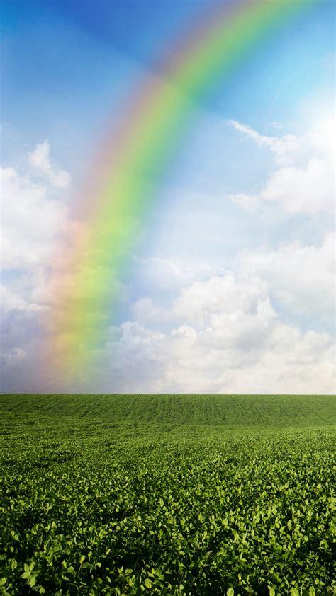 wallpaper meadows   wallpaper  rainbow sky clouds nature