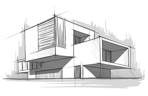 Modern Building Sketch  Architectural Graphics  Building