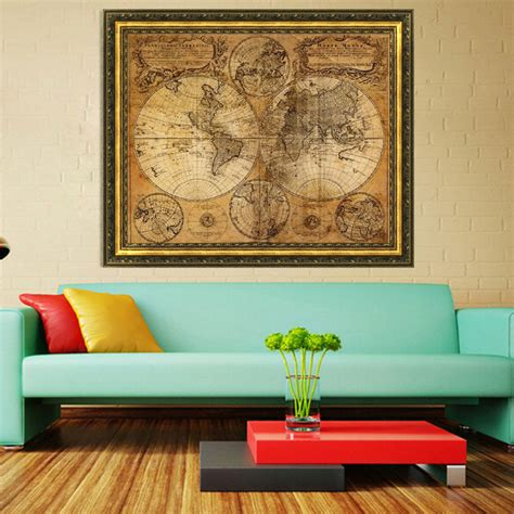 home design gifts vintage style retro cloth poster globe nautical