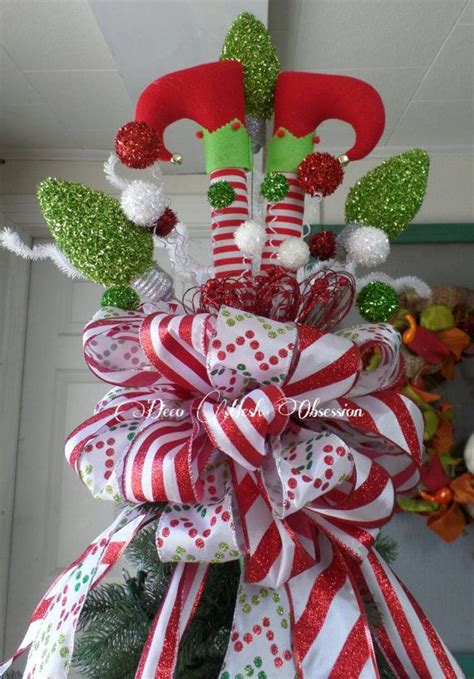 elf legs christmas tree topper ready  ship christmas