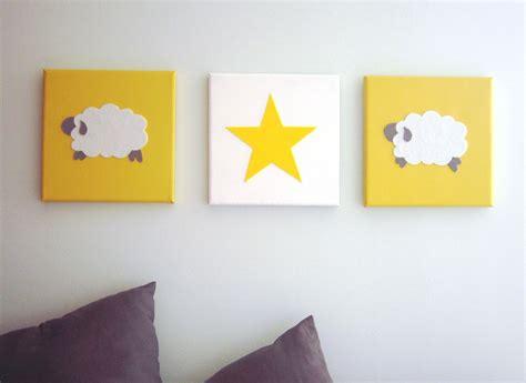 chambre fille noir et blanc tableau triptyque pour chambre d 39 enfant mouton et étoile