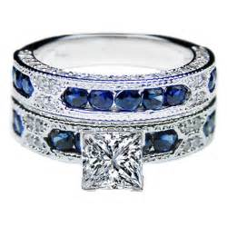 vintage sapphire wedding bands engagement ring princess cut vintage engagement ring blue sapphire accents matching