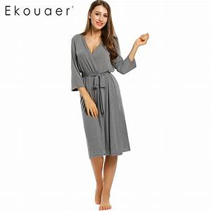 Ekouaer long womens robe 3 4 sleeve solid loose v neck for Robe 3 4