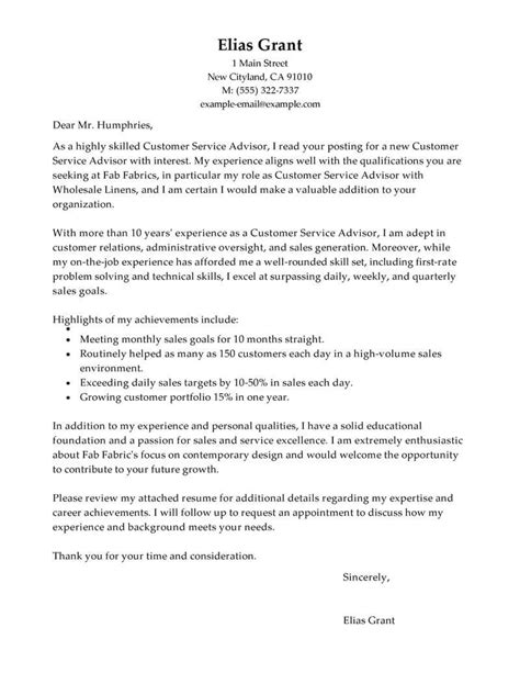 Best Cover Letter For Customer Service by Free Sales Customer Service Advisor Cover Letter Exles