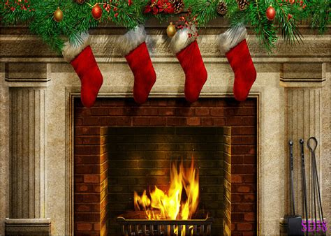 Backdrop With Fireplace by Fireplace Socks Vinyl Backdrop Photography Prop