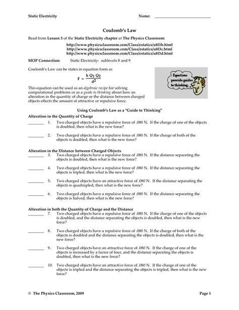 Electrostatics And Coulomb S Law Worksheet Answers Breadandhearth