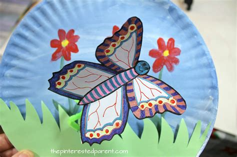 fluttering butterfly paper plate craft  pinterested