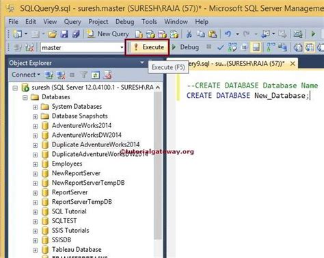 how to create database in sql server 2014