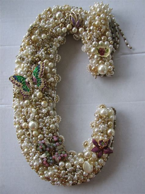handcrafted monogram letter  wall art decor vintage jewelry pearls home garden