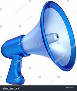 Megaphone Announcement News Message Colored Blue. Bullhorn ...