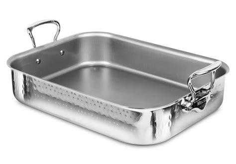 mauviel melite hammered stainless steel roasting pan  rack  cutlery