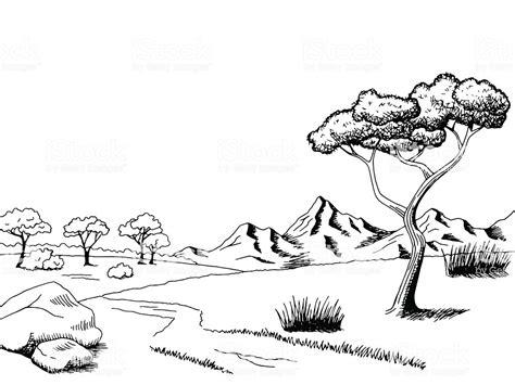 Savannah Pathway Graphic Art Black White Landscape Sketch
