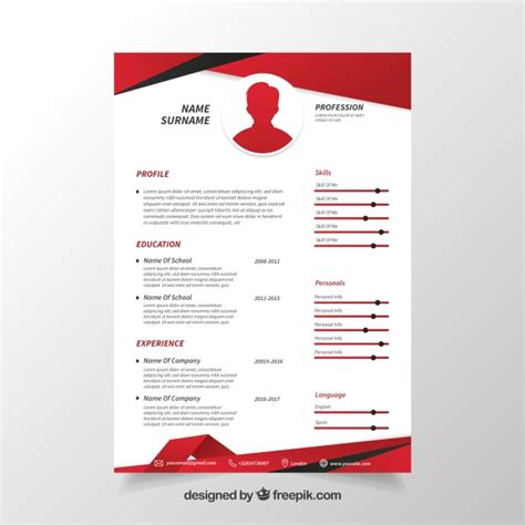 Cv Coloré Gratuit by Cv Template In Vector Free