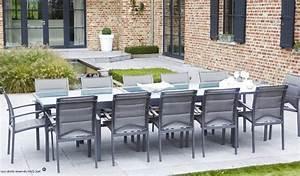 Salon De Jardin Gris Anthracite : grand salon de jardin gris anthracite 12 fauteuils et table extensible ~ Melissatoandfro.com Idées de Décoration