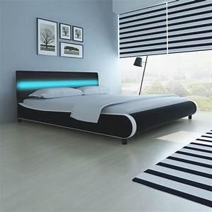 Lit 180 Cm : la boutique en ligne lit de 180 cm avec cadre led en cuir d 39 ameublement synth tique noir ~ Teatrodelosmanantiales.com Idées de Décoration