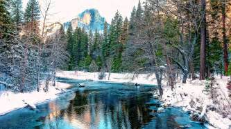 amazing blue river in the winter forest walldevil
