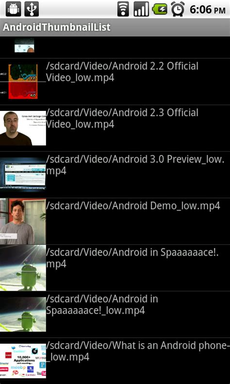 android mediastore android er display thumbnail in listview