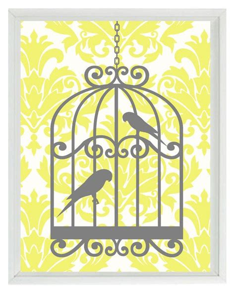 Yellow And Gray Wall Decor by Birds Wall Print Yellow Gray Decor Damask Bird Cage