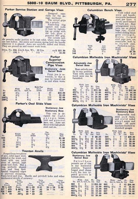 vintage vise listings   catalogs  garage
