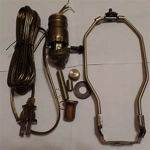 Table Lamp Wiring Kit W   10 U0026quot  Antique Finish Harp 3 Way Socket Antique Brass Cord