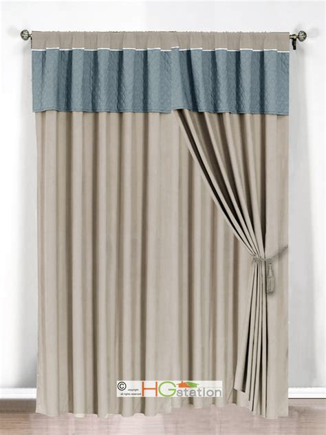 Blue Gray Valance by 4 Pc Clover Trellis Floral Curtain Set Slate Blue Gray