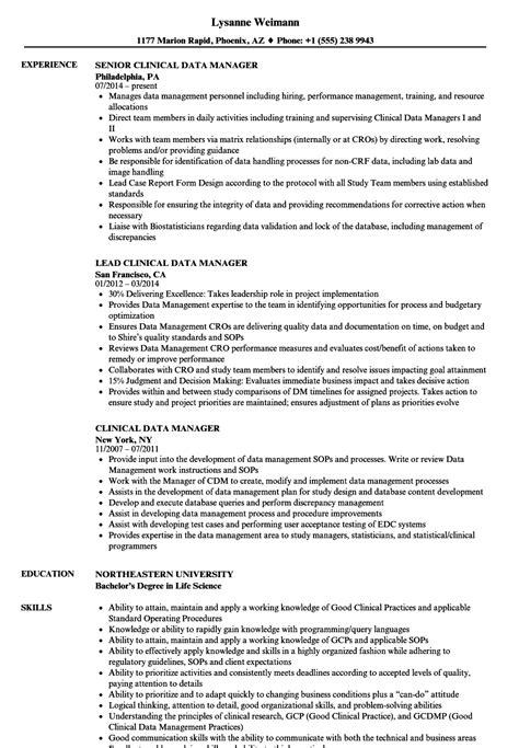Data Management Resume Sle by 4e1e9 Clinical Data Manager Resume 4e1e9 Cover Letter
