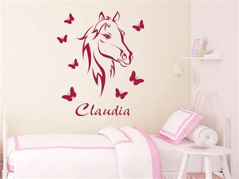 Wandtattoo Kinderzimmer Mädchen Pferde by Wandtattoo Bezauberndes Pferd Mit Name Wandtattoo Pferd