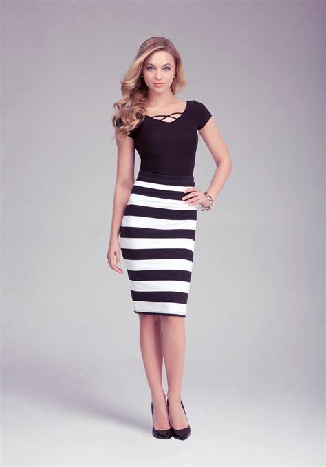 lyst bebe wide stripe midi skirt in black