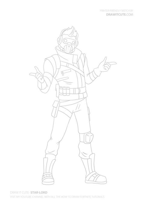 draw star lord step  step guide coloring page