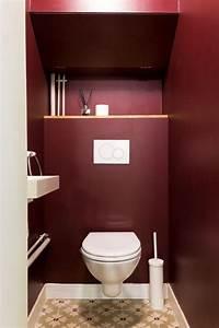 wc carreaux ciments peinture bordeaux decoration With couleur de peinture pour toilette 6 conseil deco salle de bain et toilette