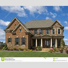 Model Luxury Home Exterior Front View Clouds Stock Image