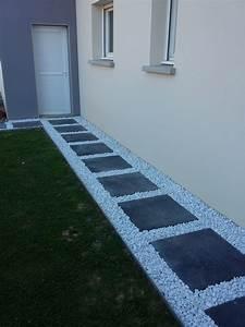 dalle galet allee gravier pas japonais dalle grise With exceptional modele escalier exterieur terrasse 2 massif le long dun escalier escalier exterieur jardin