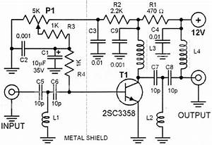 circuit diagram and component of an antenna booster With 20db vhf amplifier