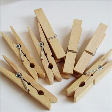 50pcs natural wooden clip clothes peg sealing bag