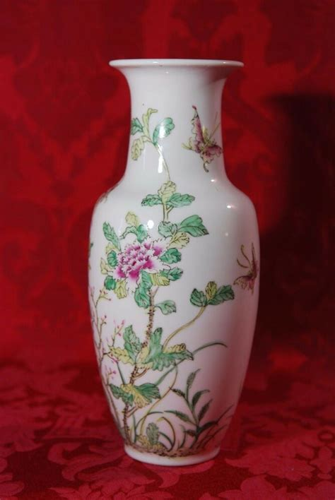 Decorated Vase asian painted peony butterfly acf decorated in