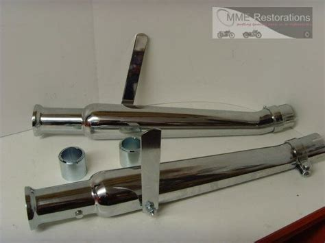 Pair Of Upswept Megaphone Exhaust Silencers Tulip Type To